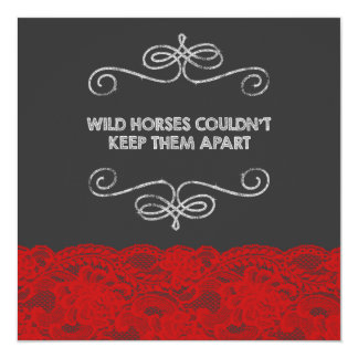 Red and Black Vintage Chalkboard Wedding Card