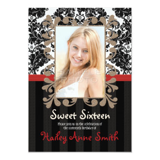 Red and Black Vintage Lace Damask Sweet Sixteen 5x7 Paper Invitation Card