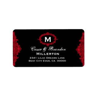 Red and Black Vintage Monogram Curlicue G208 Address Label