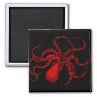 Red and Black Vintage Octopus Magnet