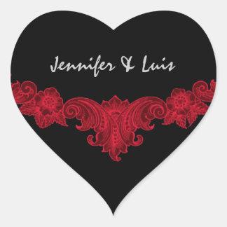 Red and Black Vintage Wedding Bride Groom S543 Heart Sticker
