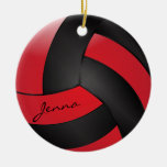 Red and Black Volleyball | DIY Name Double-Sided Ceramic Round Christmas Ornament