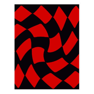 Red and Black Warp Checkerboard Postcard