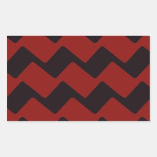 Red and Black Wavy Chevrons Rectangular Sticker