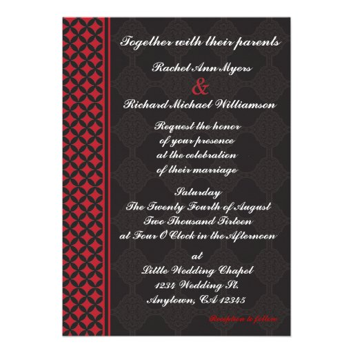"""Black And Red Wedding Invitations: Red And Black Wedding Invitations 5"""" X 7"""" Invitation Card"""
