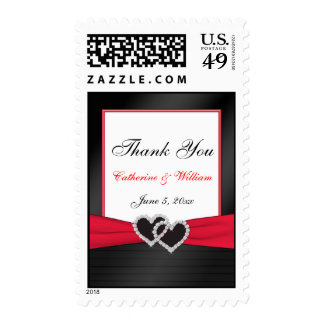 Red and Black Wedding Postage
