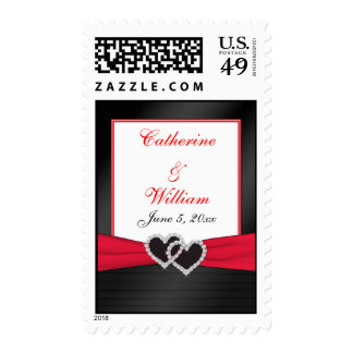 Red and Black WeddingPostage Stamps
