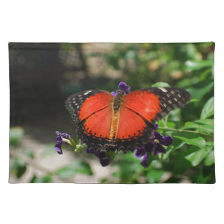 Red and Black Winged Butterfly Place Mats