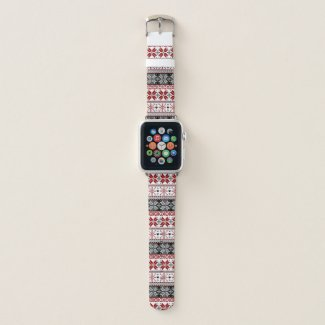 Red and Black Winter Fair Isle Pattern Apple Watch Band