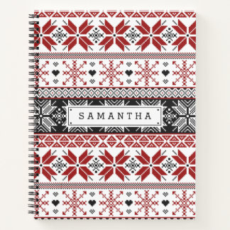 Red and Black Winter Fair Isle Pattern Notebook