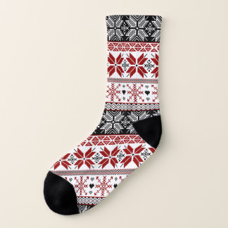 Red and Black Winter Fair Isle Pattern Socks