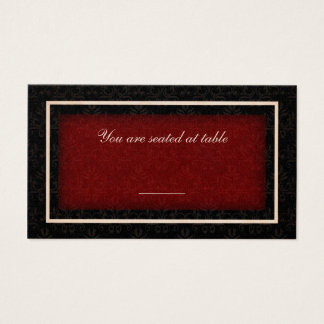 Red and Black Winter Wedding Table Seating Card