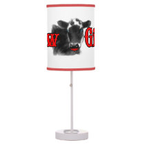 Red and Black with White Cow Girl Table Lamp