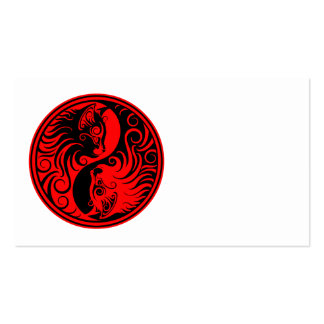Red and Black Yin Yang Cats Business Cards