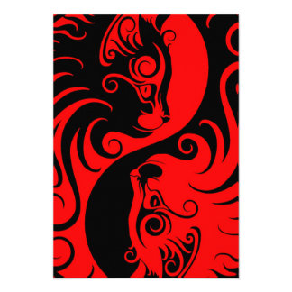 Red and Black Yin Yang Cats Invites