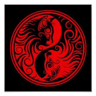 Red and Black Yin Yang Cats Poster