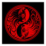 Red and Black Yin Yang Cats Posters