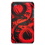 Red and Black Yin Yang Chinese Dragons Barely There iPod Cases