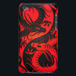 "Red and Black Yin Yang Chinese Dragons Barely There iPod Cover<br><div class=""desc"">This unique red and black yin yang design features two stylized Chinese dragons. Each of the serpents snake around their side of the tear drop with their heads turning back towards the center. This beautiful dragon design is a stylish representation of this symbol for the balance of nature.</div>"