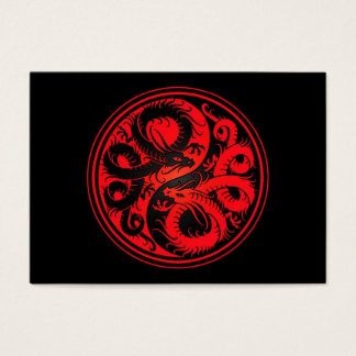 Red and Black Yin Yang Chinese Dragons Business Card
