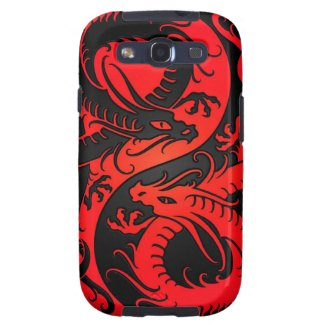 Red and Black Yin Yang Chinese Dragons Samsung Galaxy S3 Cover