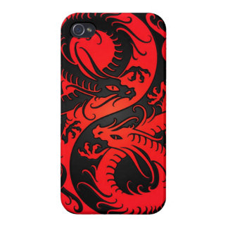 Red and Black Yin Yang Chinese Dragons Case For iPhone 4