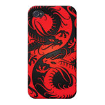 Red and Black Yin Yang Chinese Dragons Covers For iPhone 4