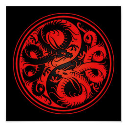 Red and Black Yin Yang Chinese Dragons Poster