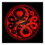Red and Black Yin Yang Chinese Dragons Posters