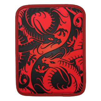 Red and Black Yin Yang Chinese Dragons Sleeves For iPads