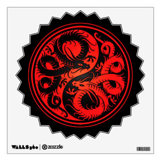 Red and Black Yin Yang Chinese Dragons Wall Sticker