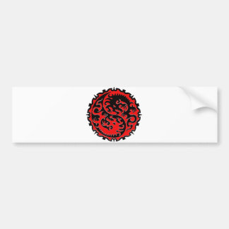 Red and Black Yin Yang Dragon Bumper Sticker