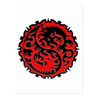 Red and Black Yin Yang Dragon Postcard