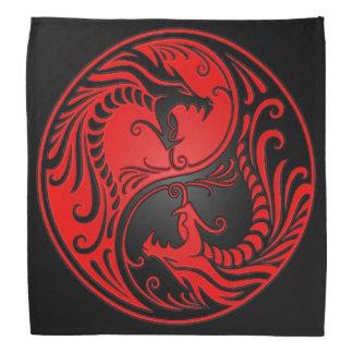 Red and Black Yin Yang Dragons Bandana