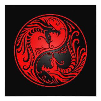 Red and Black Yin Yang Dragons Card