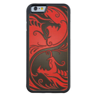Red and Black Yin Yang Dragons Carved Maple iPhone 6 Bumper Case