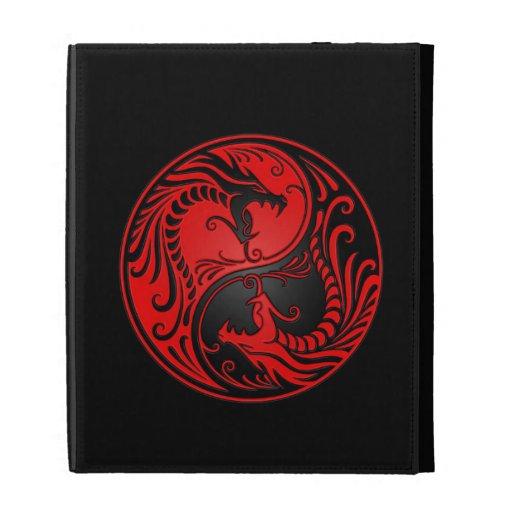 Red and Black Yin Yang Dragons iPad Case