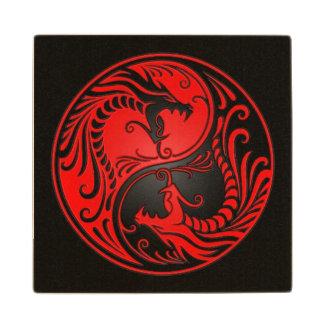 Red and Black Yin Yang Dragons Wood Coaster
