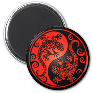 Red and Black Yin Yang Geckos 2 Inch Round Magnet