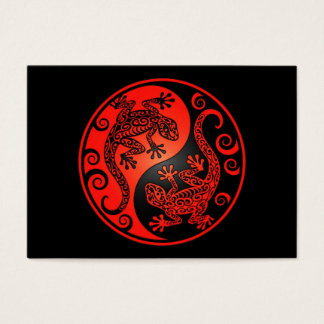 Red and Black Yin Yang Geckos Business Card