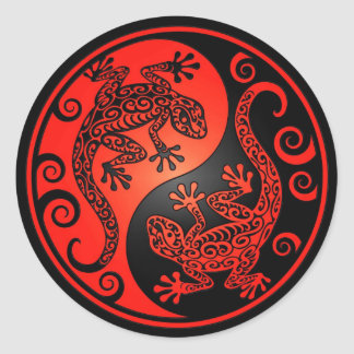 Red and Black Yin Yang Geckos Classic Round Sticker