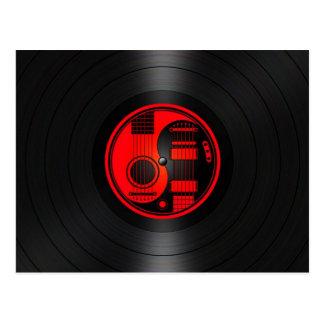 Red and Black Yin Yang Guitars Vinyl Graphic Postcard
