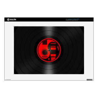 Red and Black Yin Yang Guitars Vinyl Graphic Laptop Decals