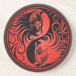 Red and Black Yin Yang Kittens Coaster