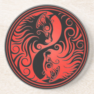 Red and Black Yin Yang Kittens Drink Coaster