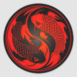 Red and Black Yin Yang Koi Fish Classic Round Sticker