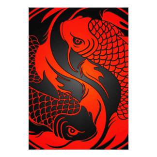Red and Black Yin Yang Koi Fish Personalized Announcement