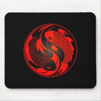 Red and Black Yin Yang Koi Fish Mouse Pad