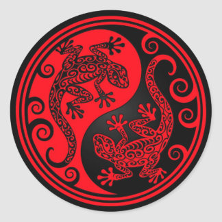 Red and Black Yin Yang Lizards Classic Round Sticker