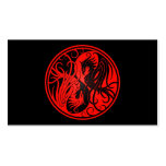 Red and Black Yin Yang Phoenix Business Card